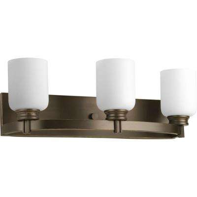 Orbit Collection 3-Light Antique Bronze Vanity Light with Opal Etched Glass Shades