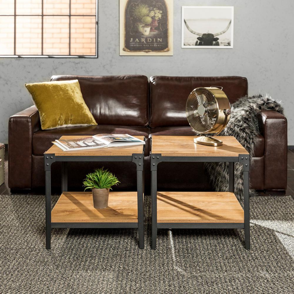 Rustic Wood End Side Table, Set of 2 - Barnwood