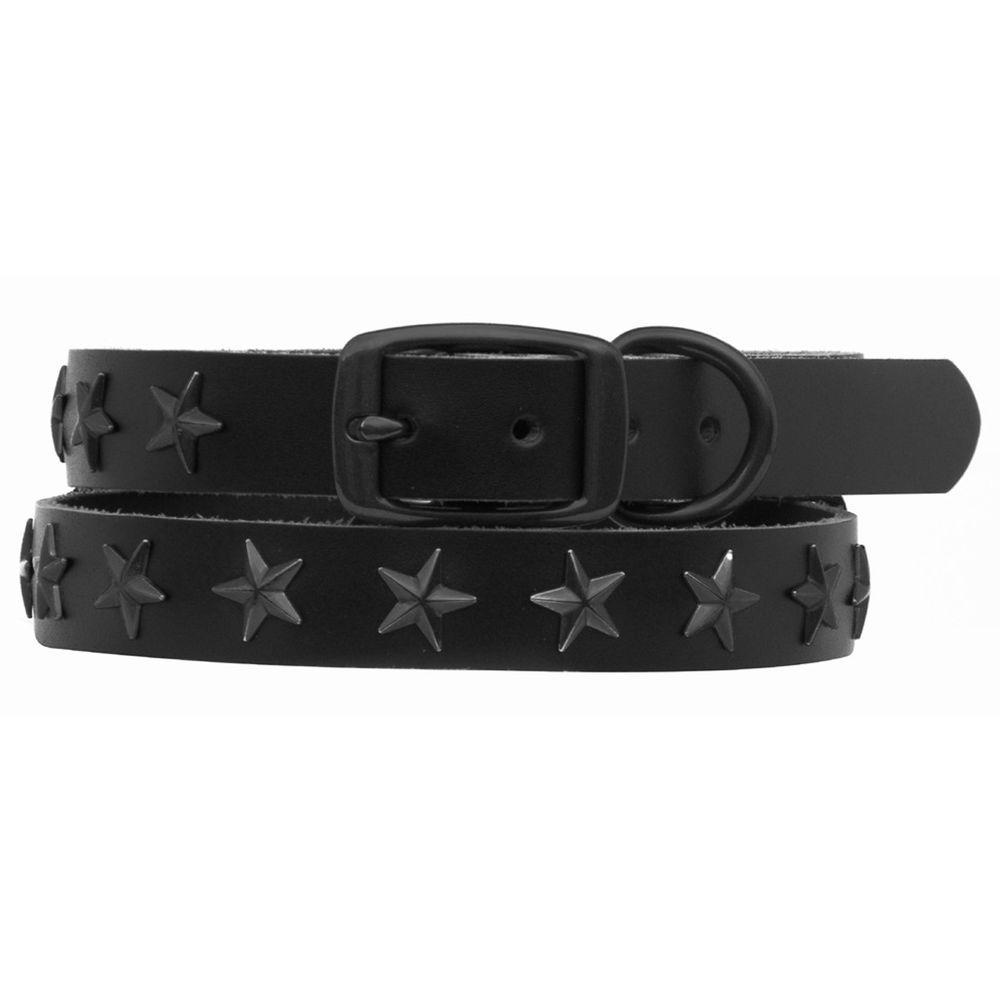 Platinum Pets 24 in. Black Genuine Leather Dog Collar in Black Stars