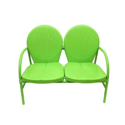 41 in. Metal Outdoor Lime Green Retro Tulip Double Glider