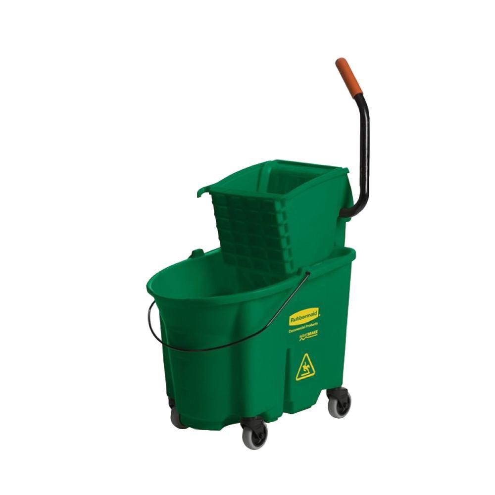 35 Qt. Green WaveBrake Side-Press Bucket/Wringer Combo