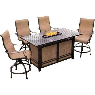 Somerset 5-Piece Rectangular Outdoor Bar-Height Dining Set with Fire Feature and Swivels