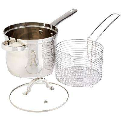 3-Piece Stainless Steel 4 Qt. Deep Fryer with Frying Basket