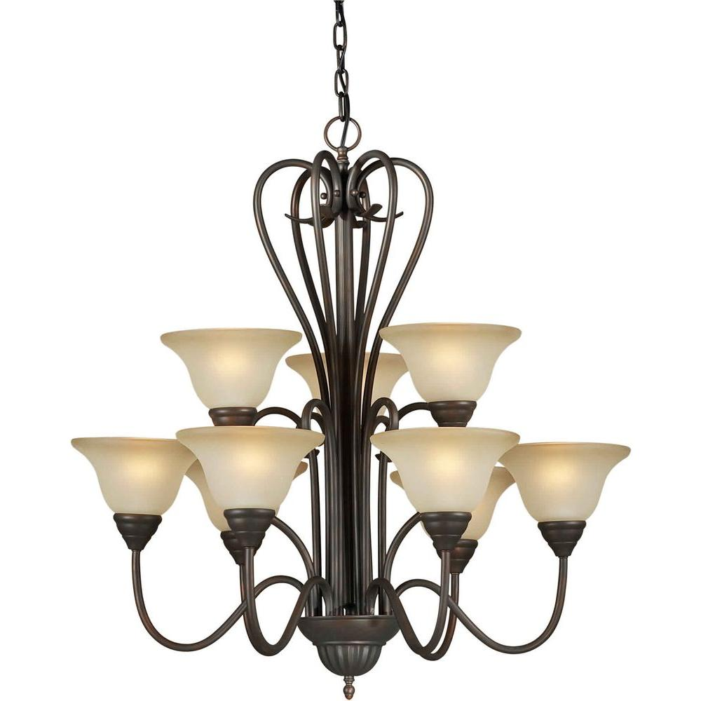 Illumine 9 Light Chandelier Antique Bronze Finish Shaded Umber Glass-DISCONTINUED