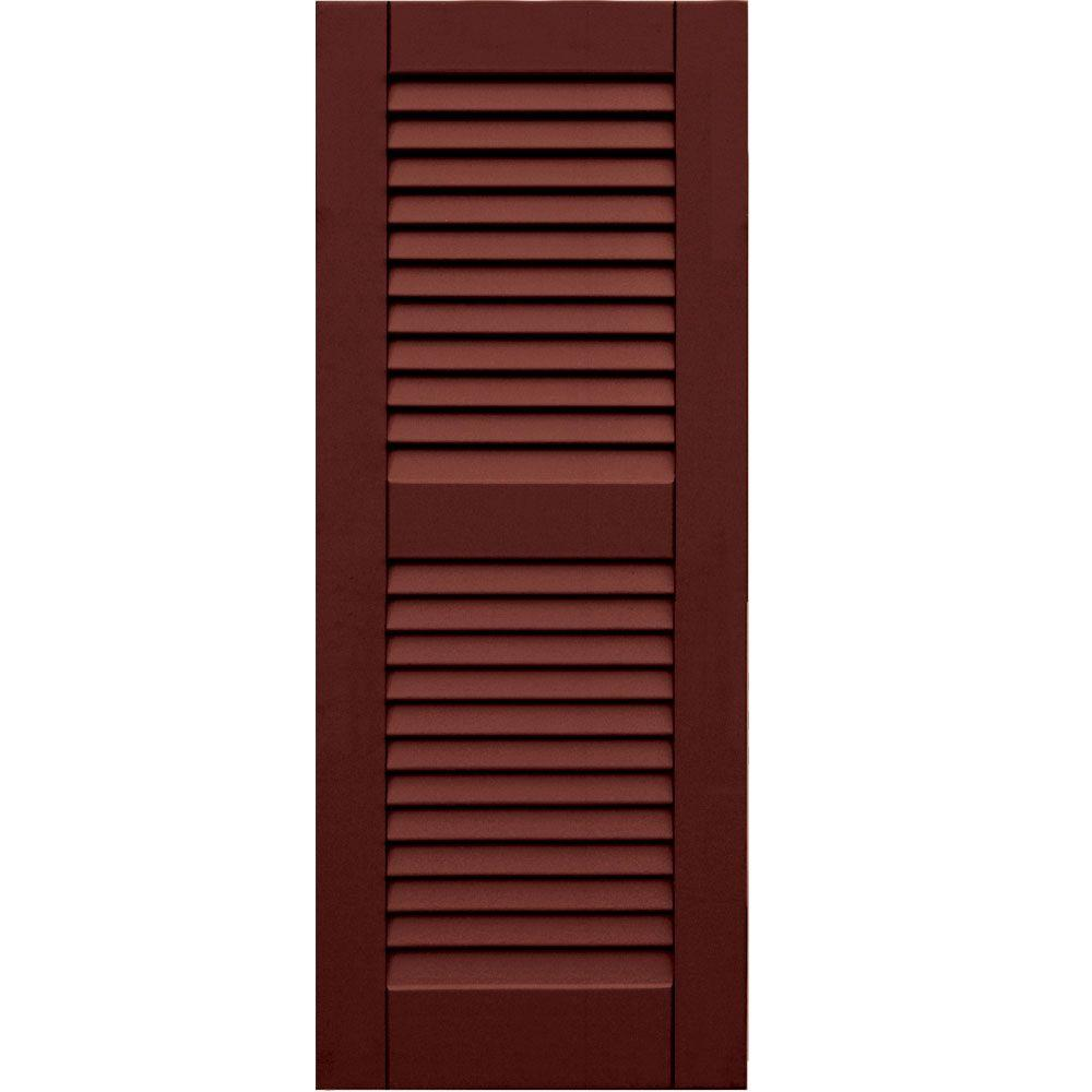 Winworks Wood Composite 15 in. x 38 in. Louvered Shutters Pair #650 Board and Batten Red