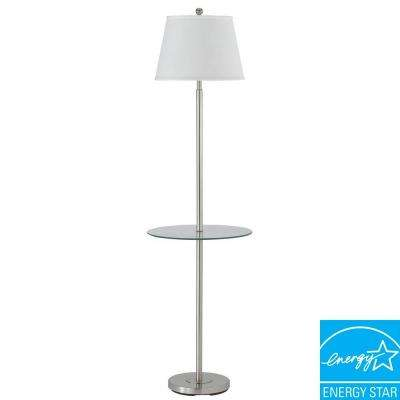 60 in. Andros Glass Table Lamp in Brushed Steel
