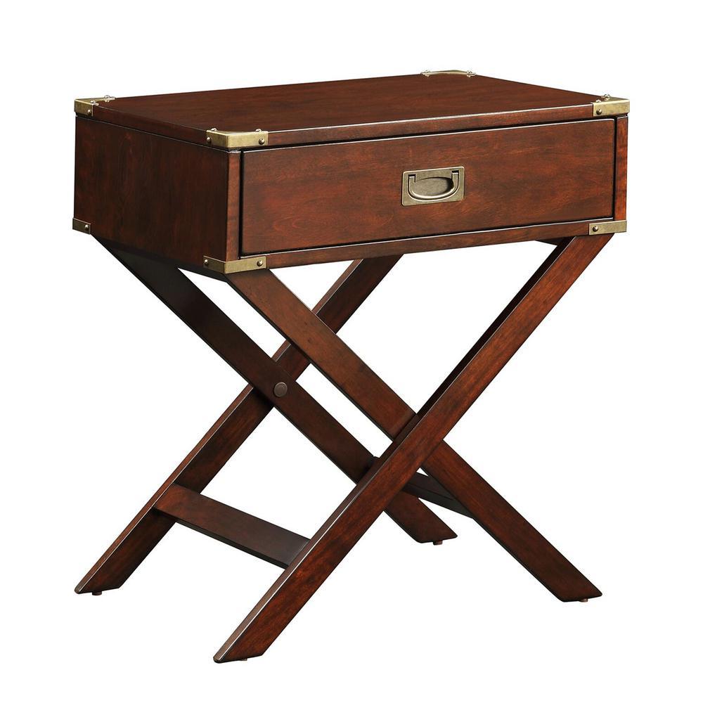 Wenderson 1-Drawer Brown Nightstand