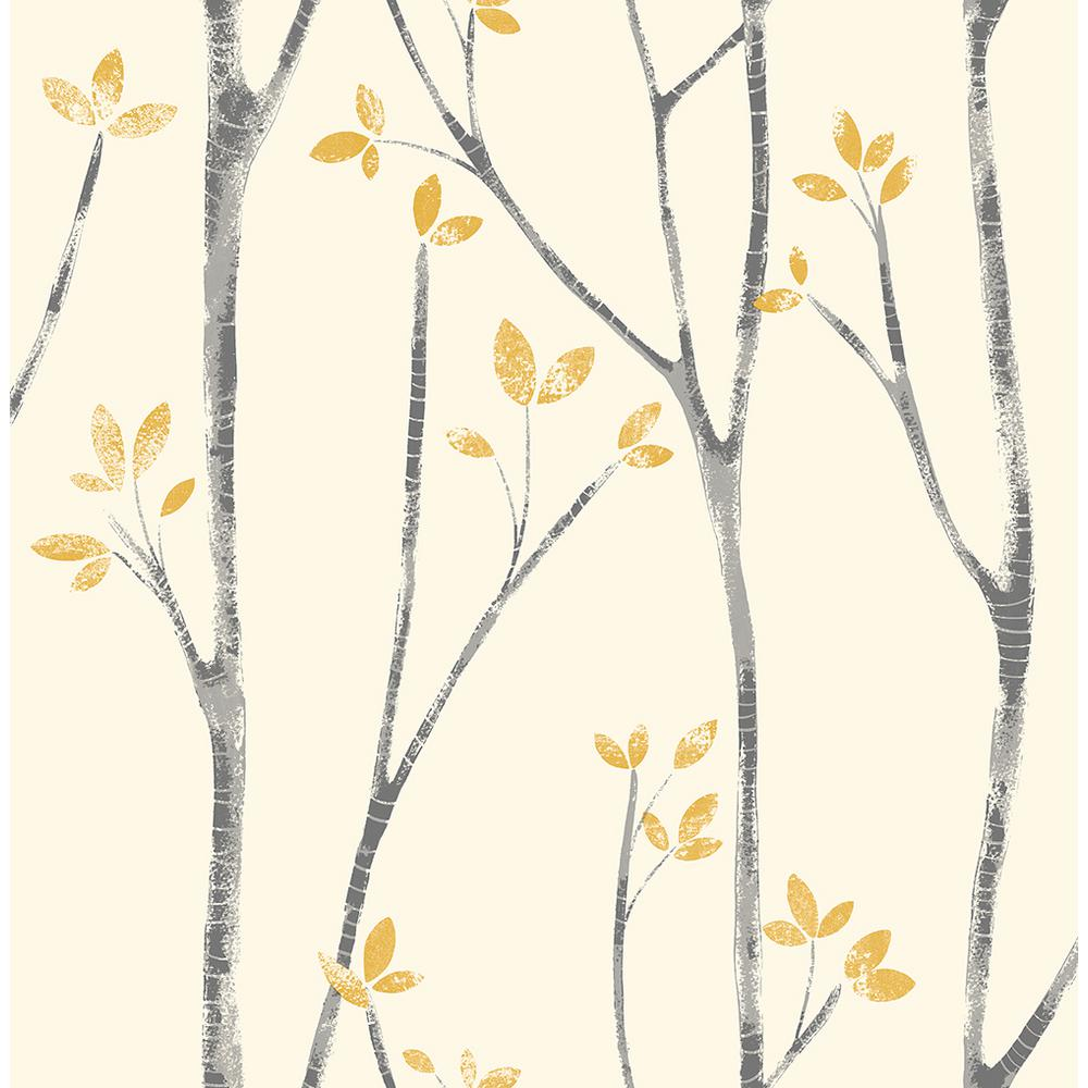 Brewster 56 4 Sq Ft Ingrid Mustard Scandi Tree Wallpaper Uw24776