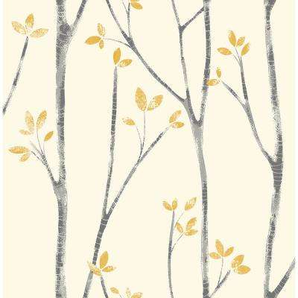8 in. x 10 in. Ingrid Mustard Scandi Tree Wallpaper Sample