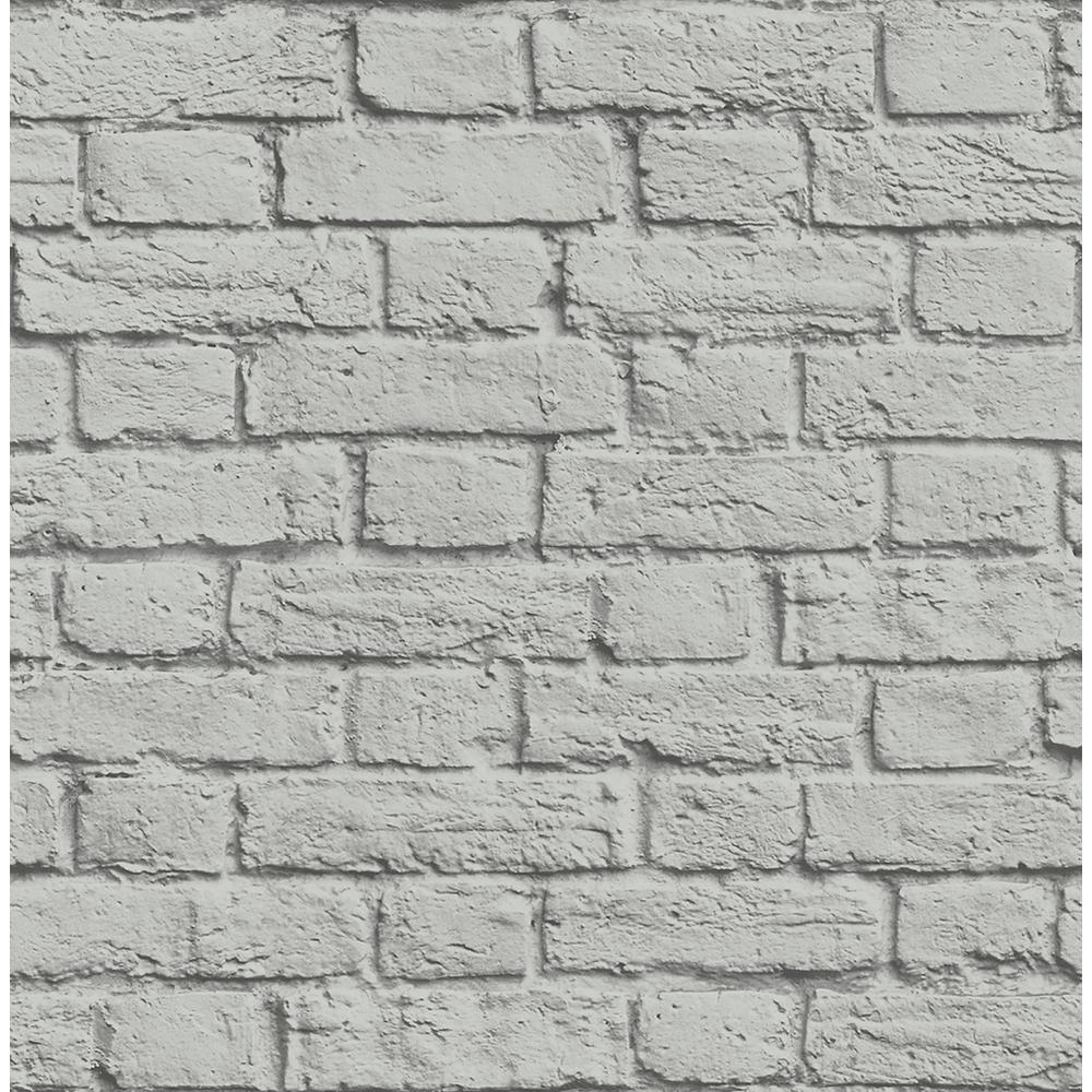 Brewster 56.4 sq. ft. Cologne Grey Painted Brick Wallpaper ...