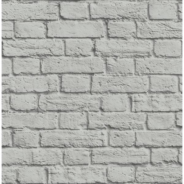 Brewster 56.4 sq. ft. Cologne Grey Painted Brick Wallpaper UW24764