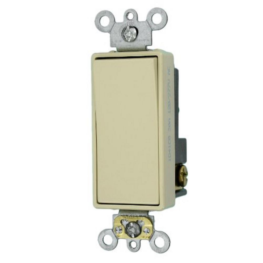 Decora Plus 20 Amp Single-Pole Spec Grade Rocker Switch, Ivory