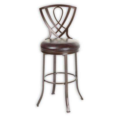 30 in. Lincoln Metal Bar Stool with Chocolate Upholstered Swivel-Seat and Brown Crystal Frame Finish