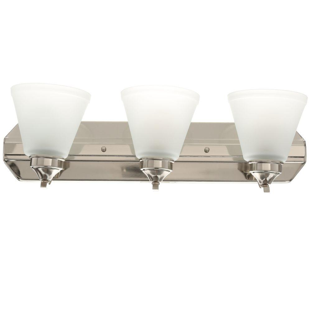 Vanity lighting lighting the home depot 3 light brushed nickel vanity light with frosted shades aloadofball Choice Image