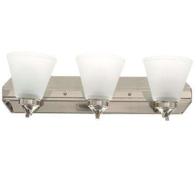 3-Light Brushed Nickel Vanity Light with Frosted Shades