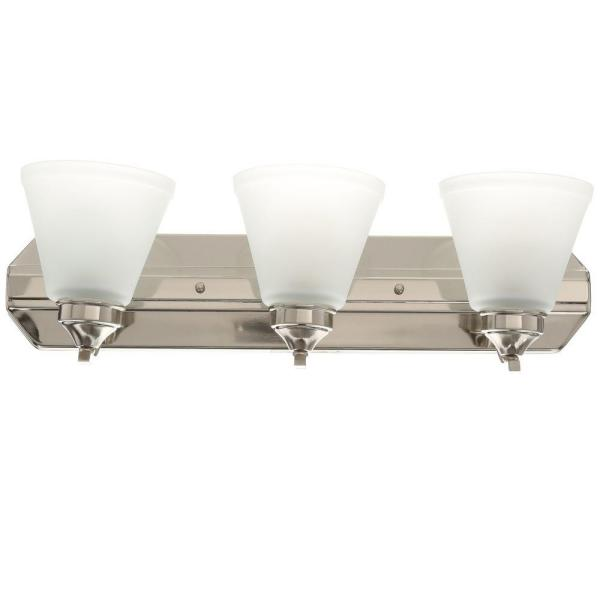 Tavish 3-Light Brushed Nickel Vanity Light with Frosted Shades