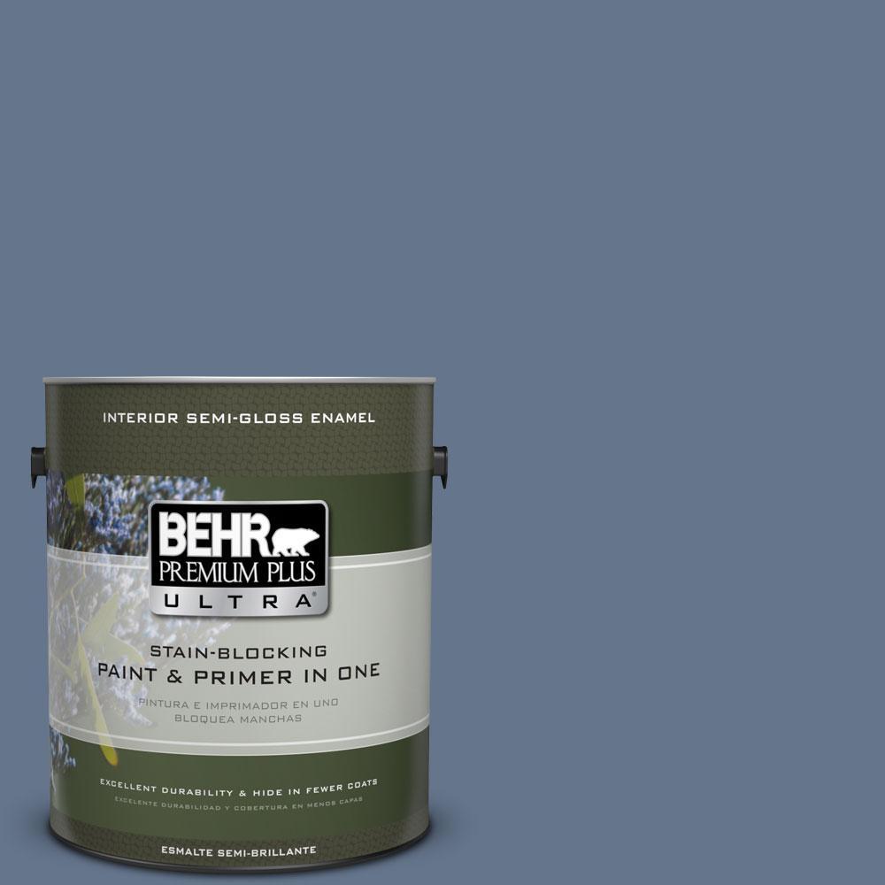 BEHR Premium Plus Ultra 1-gal. #BXC-75 Saltbox Blue Semi-Gloss Enamel Interior Paint