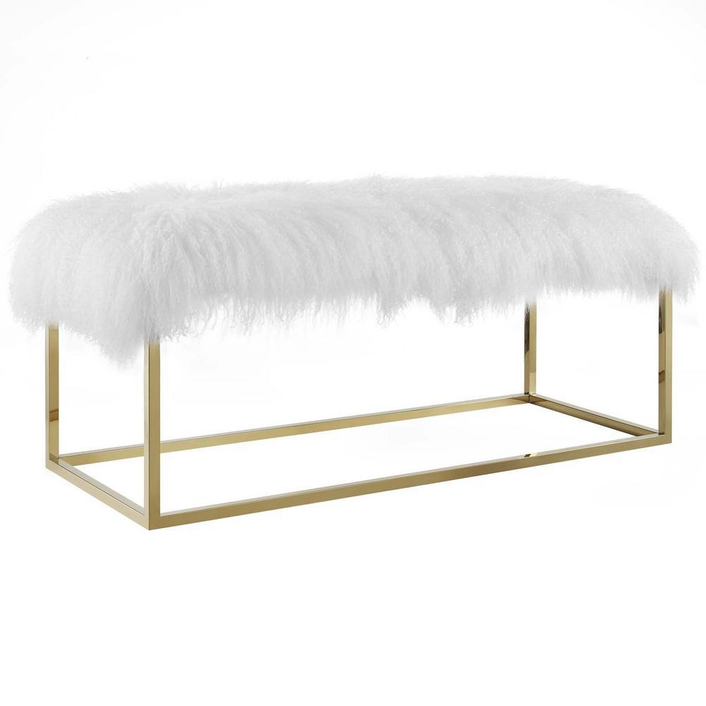 Gold Gaze White Sheepskin Bench