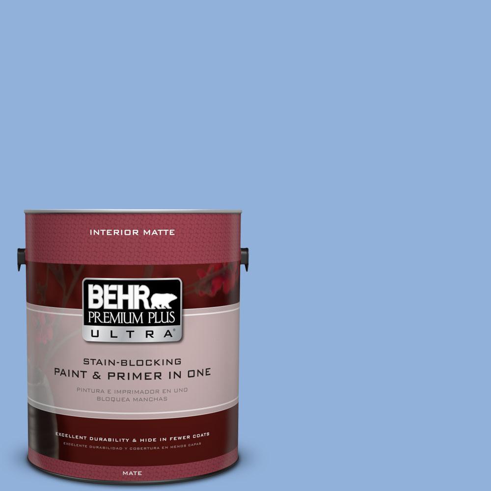 BEHR Premium Plus Ultra 1 gal. #580B-5 Cornflower Blue Flat/Matte Interior Paint