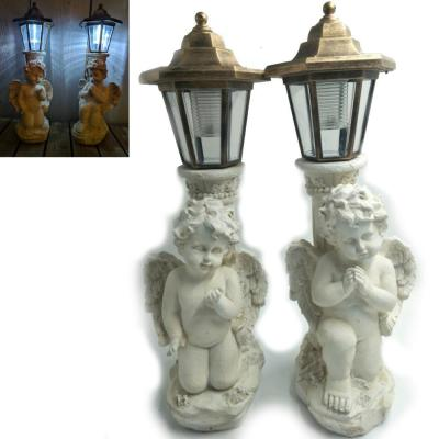 2-Light 15 in. Integrated LED Solar Powered Pair of Angel Garden with White and Gold Accents (2-Pack)