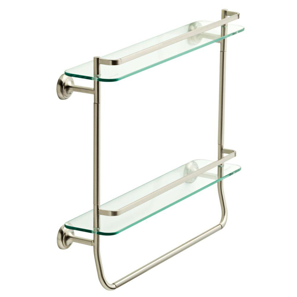 Delta 4 in. W Double Glass Shelf with Towel Bar in Brushed Nickel ...