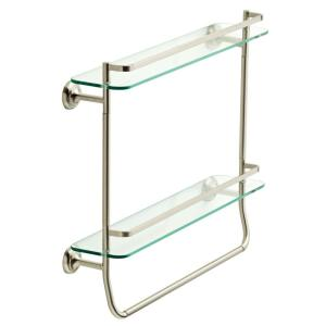 20 in. W Double Glass Shelf with Towel Bar in Brushed Nickel