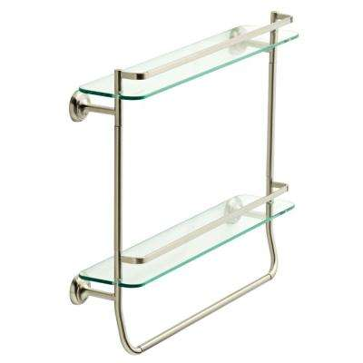 4 in. W Double Glass Shelf with Towel Bar in Brushed Nickel