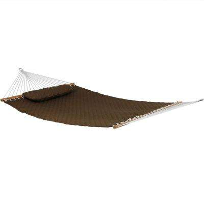 10-1/2 ft. Quilted Double 2-Person Hammock with Spreader Bars and Pillow in Brown