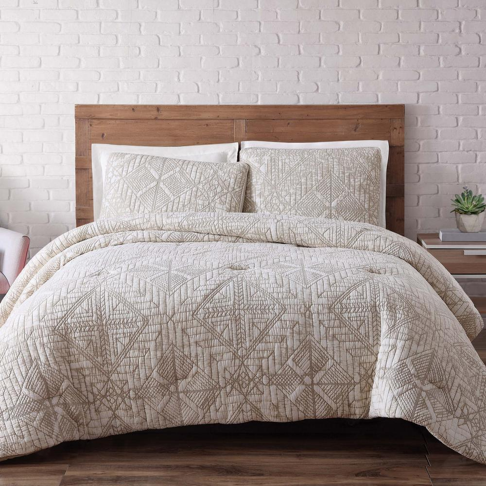 Sand Washed Cotton King Comforter Set in White Sand