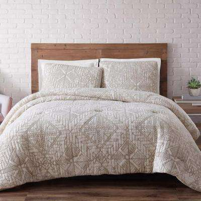 Sand Washed Cotton Twin XL Quilt Set in White Sand