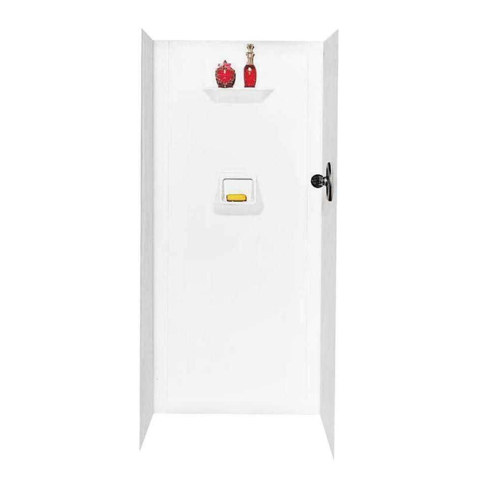 Swan 32 in. x 32 in. x 70 in. 3-Piece Easy Up Adhesive Alcove Shower Wall Kit in White