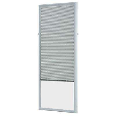 White Cordless Add On Enclosed Aluminum Blinds with 1/2 in. Slats, for 22 in. Wide x 64 in. Length Door Windows