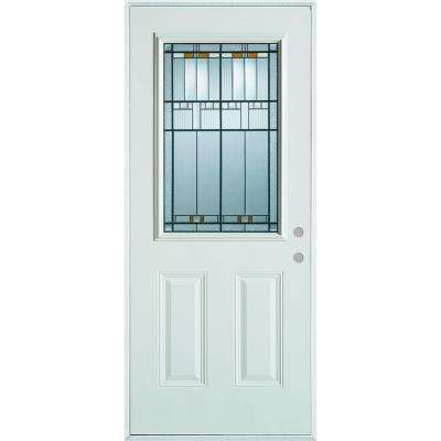 33.375 in. x 82.375 in. Architectural 1/2 Lite 2-Panel Painted White Left-Hand Inswing Steel Prehung Front Door