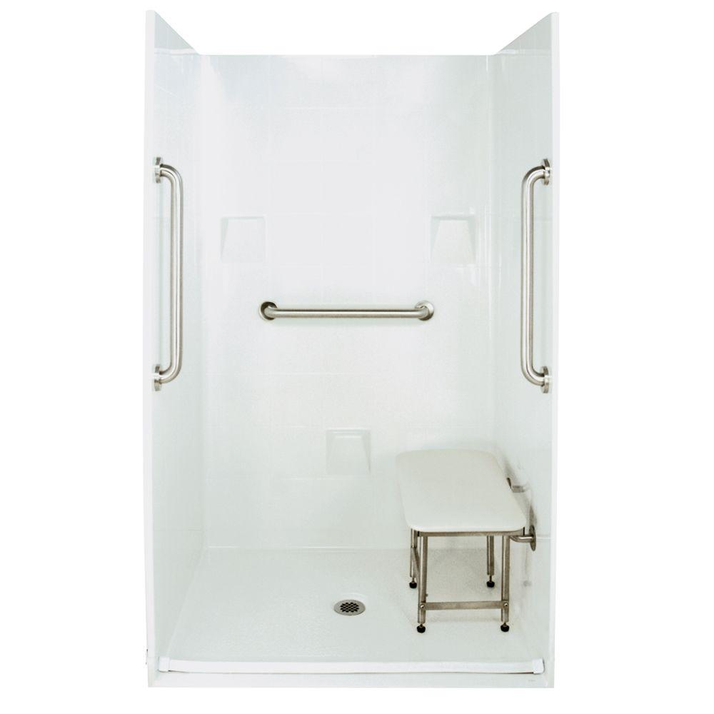 Ella Standard Plus 24 37 in. x 48 in. x 78 in. Barrier Free Roll-In Shower Kit in White with Center Drain