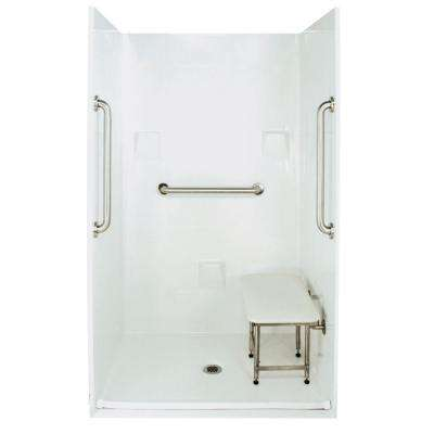 Standard Plus 24 37 in. x 48 in. x 78 in. Barrier Free Roll-In Shower Kit in White with Center Drain