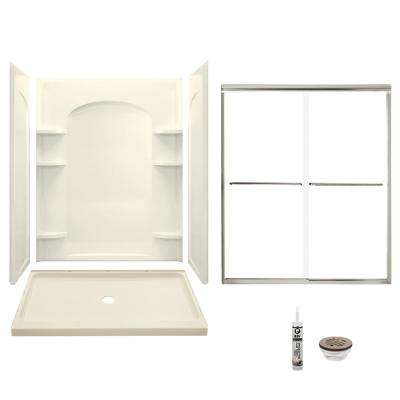 Ensemble 34 in. x 60 in. x 75.75 in. Center Drain Alcove Shower Kit in Biscuit and Brushed Nickel
