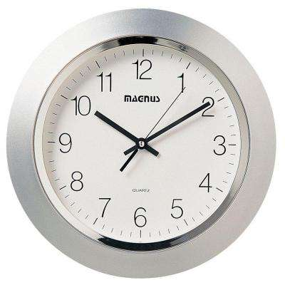 Catherine 14 in. x 14 in. Silver Quartz Wall Clock