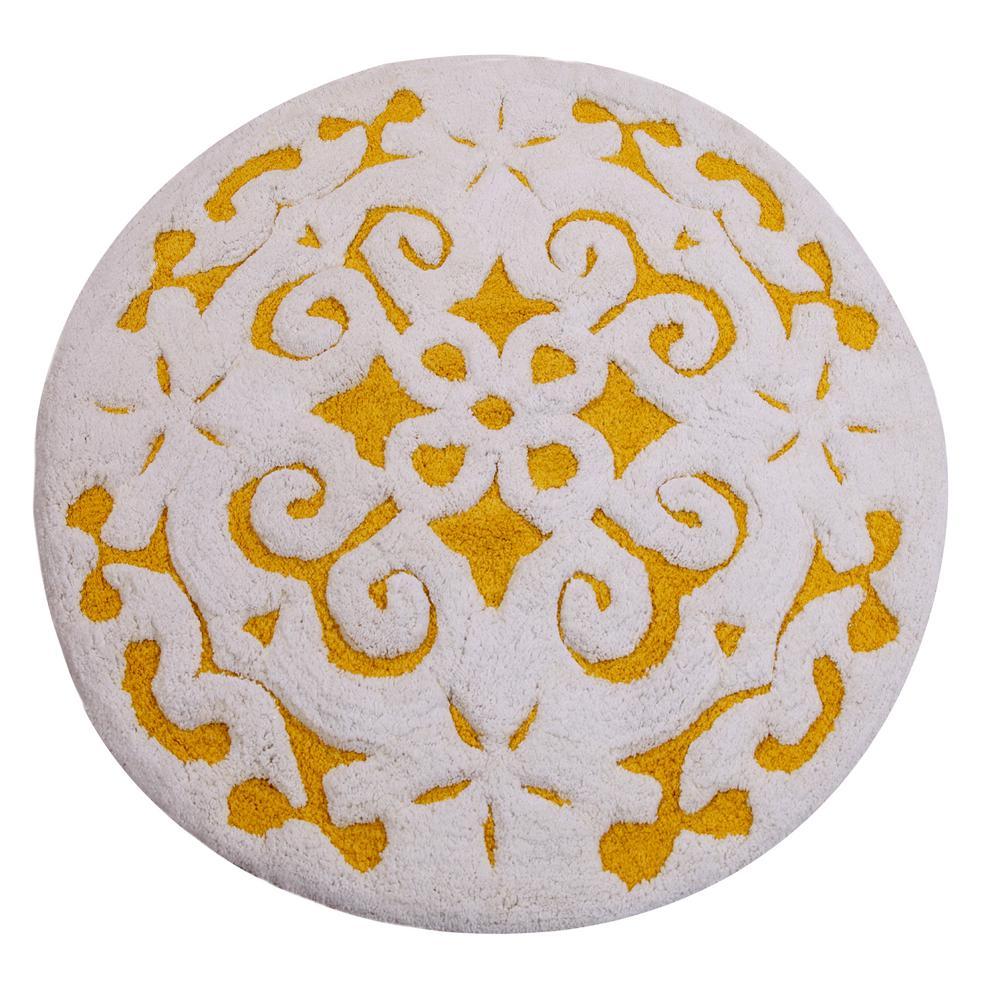Saffron Fabs Damask 36 In Round Cotton Yellow White Latex Spray Non