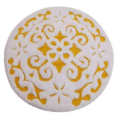 Damask 36 In Round Cotton Yellow White Latex Spray Non Skid Backing 200