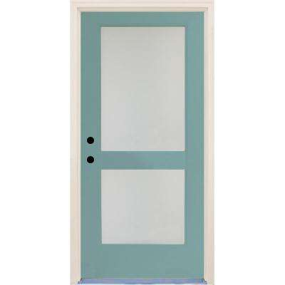 36 in. x 80 in. Elite Surf Satin Etch Glass Contemporary 2 Lite Painted Fiberglass Prehung Front Door with Brickmould