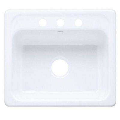 Mayfield Drop-In Cast-Iron 25 in. 3-Hole Single Bowl Kitchen Sink in White