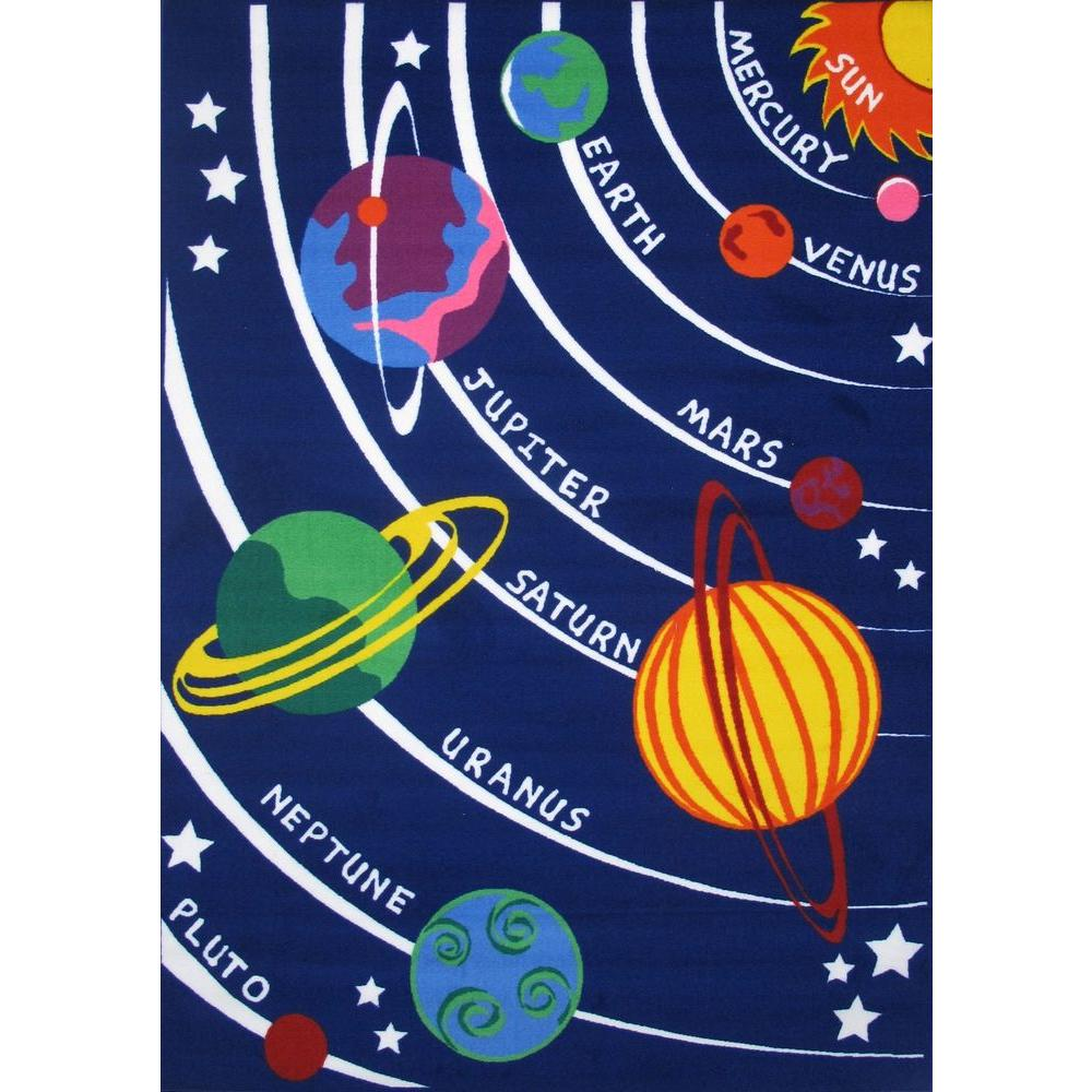 LA Rug Fun Time Solar System Multi Colored 5 ft. 3 in. x 7 ft. 6 in. Area Rug
