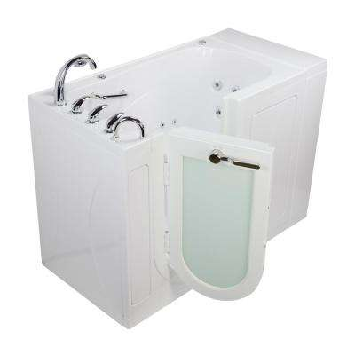 Monaco Acrylic 52 in. Walk-In Whirlpool Bath in White with Heated Seat Fast Fill Roman Faucet Set Left 2 in. Dual Drain