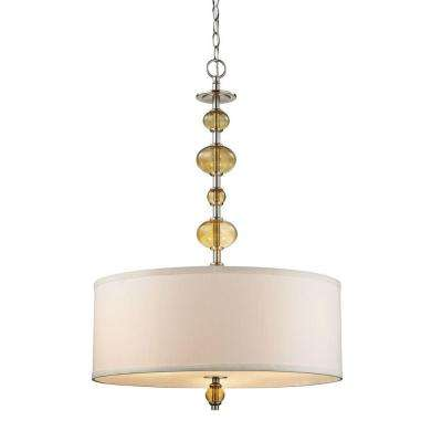 3-Light Satin Nickel Pendant with Beige Fabric Shade and Amber Glass Accents