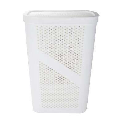60 Liter White Perforated Plastic Laundry Hamper with Lid Dirty Clothes Storage