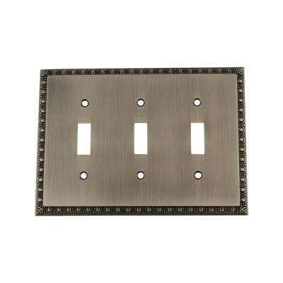 Egg and Dart Switch Plate with Triple Toggle in Antique Pewter
