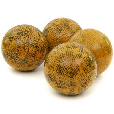 Oriental Furniture 4 in. Sponged Yellow Porcelain Ball Set
