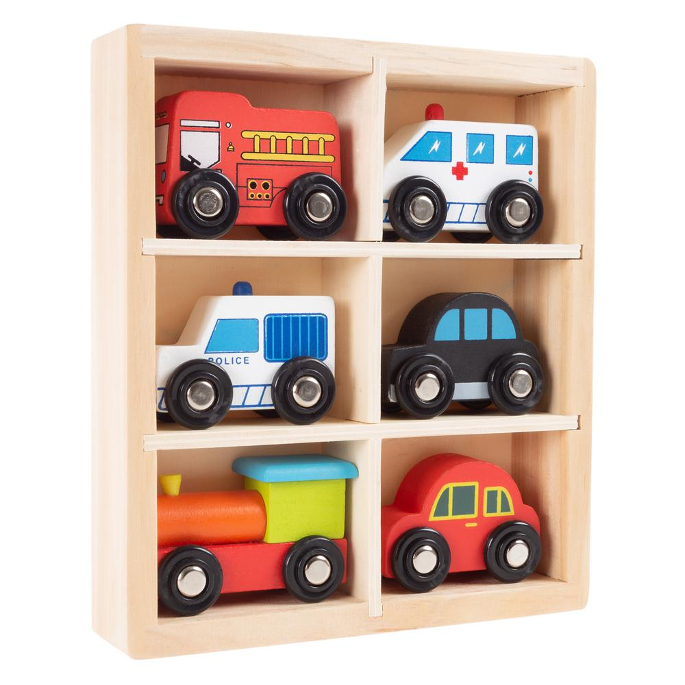 hey! play! wooden car playset (6-piece)