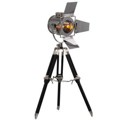 Ansel Tripod 15.5 in. Chrome and Black Floor Lamp