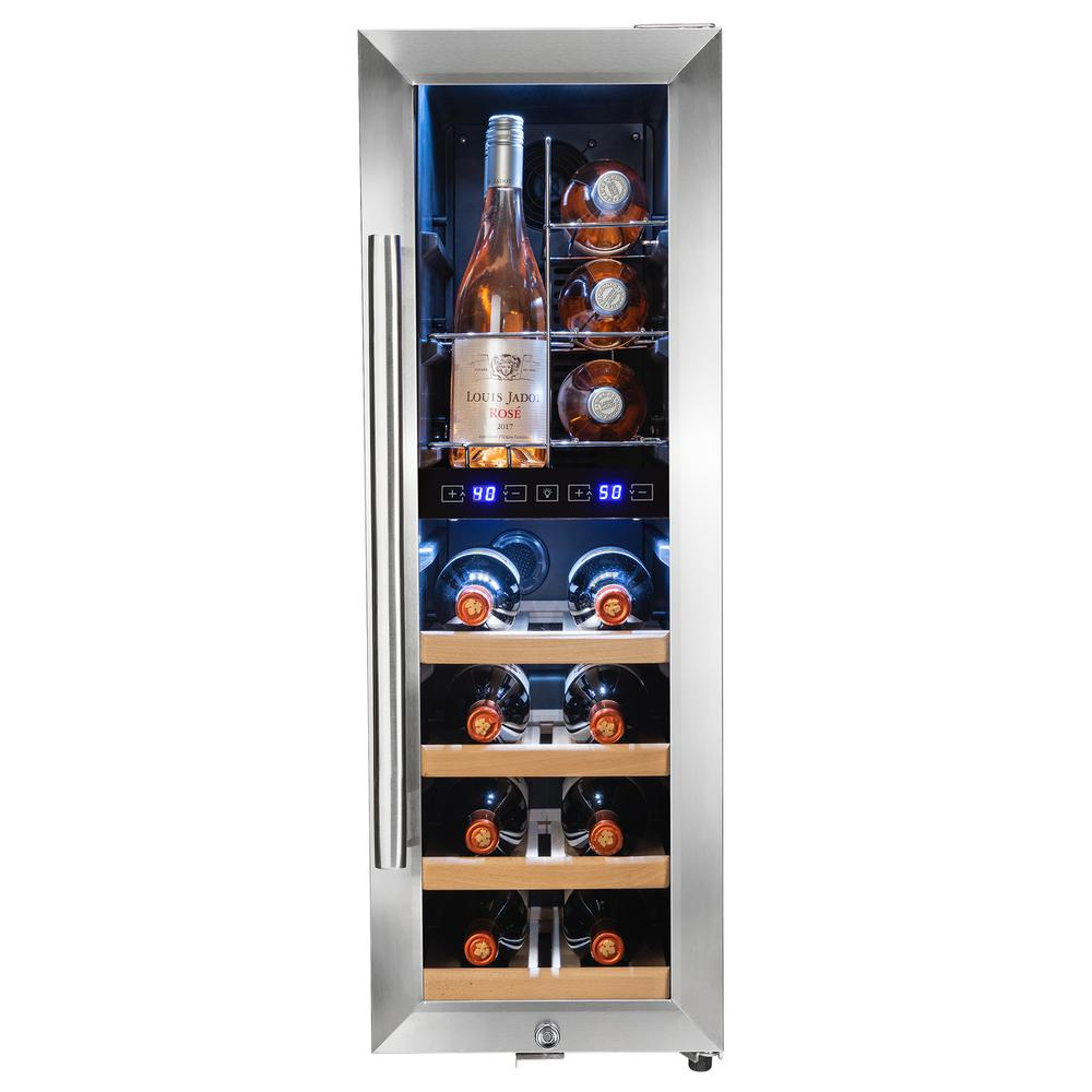 34.75 in. 16-Bottle Dual Zone Compressor Freestanding Wine Cooler